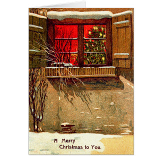 Winter Cottage Candlelit Christmas Tree Window Card
