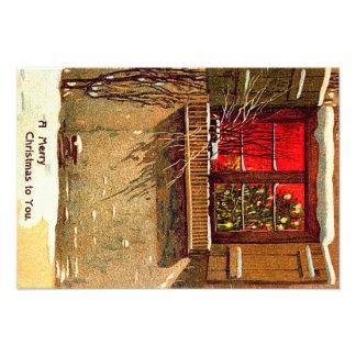 Winter Cottage Candlelit Christmas Tree Window Photo Print