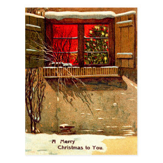 Winter Cottage Candlelit Christmas Tree Window Postcard