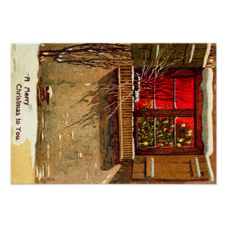 Winter Cottage Candlelit Christmas Tree Window Poster