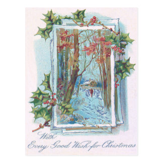 Winter Cottage Holly Winterberry Snow Walk Postcard