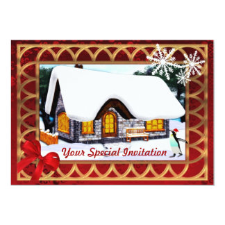 Winter cottage in the snow,   Christmas Card