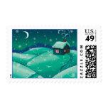 Winter Cottage Postage Stamp