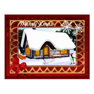 Winter cottage snowsene with penguin  christmas postcard
