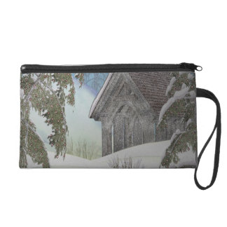 Winter Cottage Wristlet Purse