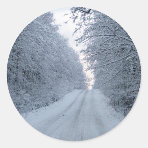 Winter Country Road Scene Classic Round Sticker