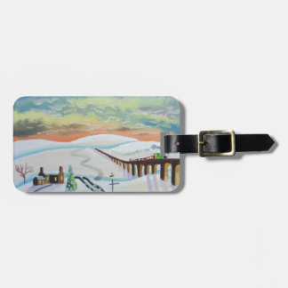 Winter countryside landscape bag tag
