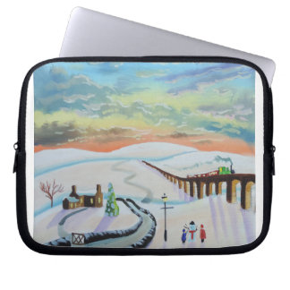 Winter countryside landscape laptop sleeve