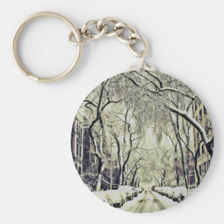 Winter Covered Streets Keychain