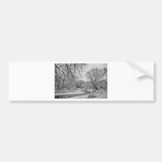 Winter Creek in Black and White Bumper Sticker