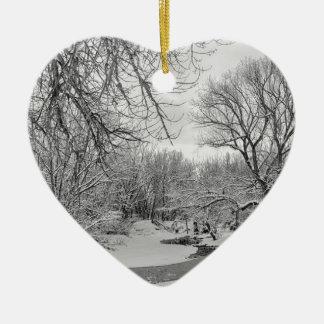 Winter Creek in Black and White Ceramic Ornament