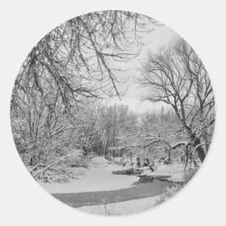 Winter Creek in Black and White Classic Round Sticker