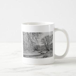 Winter Creek in Black and White Coffee Mug