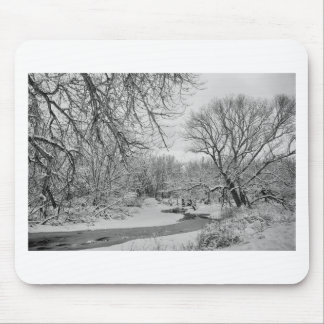 Winter Creek in Black and White Mouse Pad