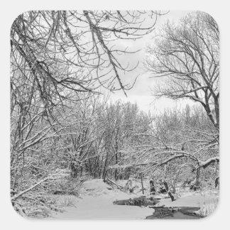 Winter Creek in Black and White Square Sticker