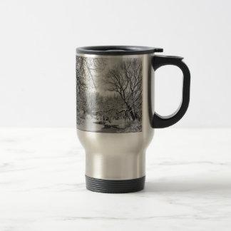Winter Creek in Black and White Travel Mug
