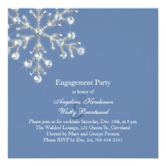 Winter Crystal Snowflake Engagement Party Invite