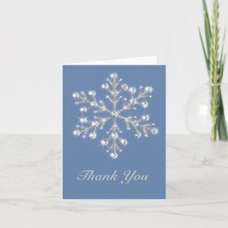 Winter Crystal Snowflake Thank You Card card