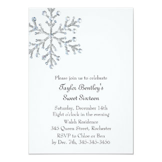 Winter Crystal Sweet 16th Birthday Invite