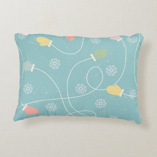 Winter cushion with cuddly gloves accent pillow