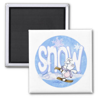 Winter - Cute Snow Bunny Magnets