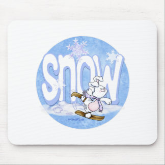 Winter - Cute Snow Bunny Mouse Pad