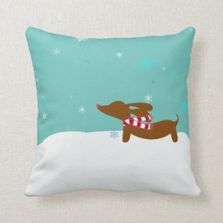 Winter Dachshund Christmas Accent Pillow