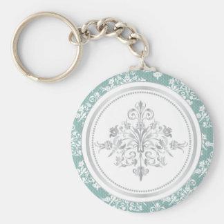 Winter Damask Keychain