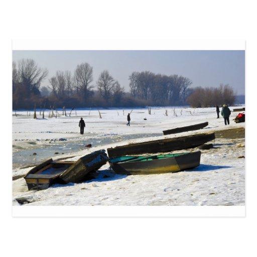 winter - danube river in frosty day post cards