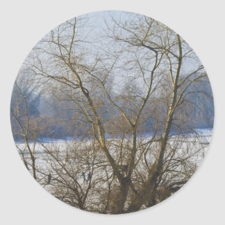 winter - danube river in frosty day round stickers