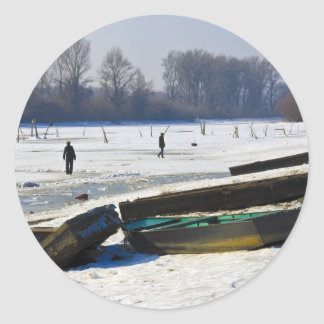 winter - danube river in frosty day stickers