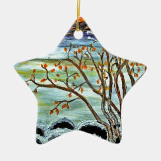 Winter day by the lake ceramic ornament