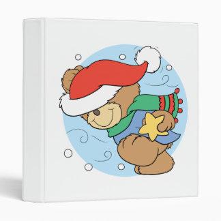 winter day christmas teddy bear design 3 ring binder