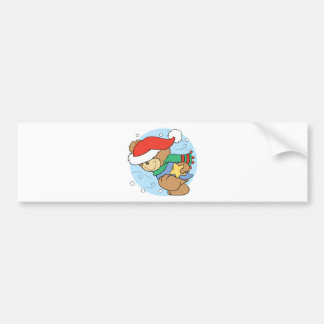 winter day christmas teddy bear design bumper sticker