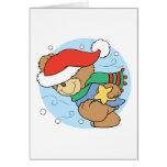 winter day christmas teddy bear design greeting cards