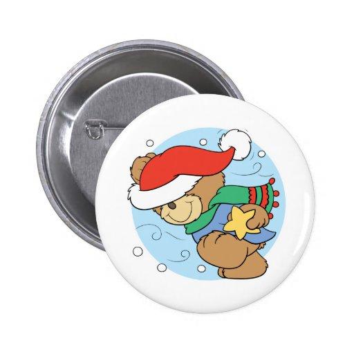 winter day christmas teddy bear design pins