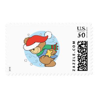 winter day christmas teddy bear design postage