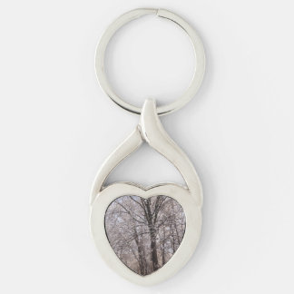 Winter Day Silver-Colored Heart-Shaped Metal Keychain