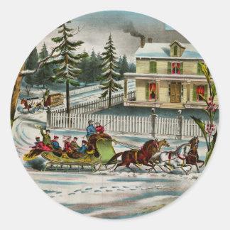 Winter Days Classic Round Sticker