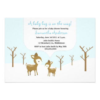 Winter Deer and Fawn Baby Shower Invite - Boy
