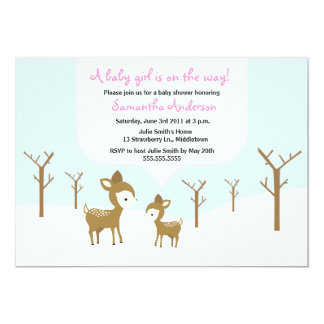 Winter Deer and Fawn Baby Shower Invite - Girl