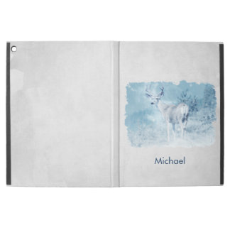 """Winter Deer and Pine Trees Personalized iPad Pro 12.9"""" Case"""