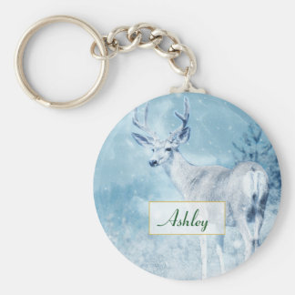 Winter Deer and Pine Trees Personalized Keychain