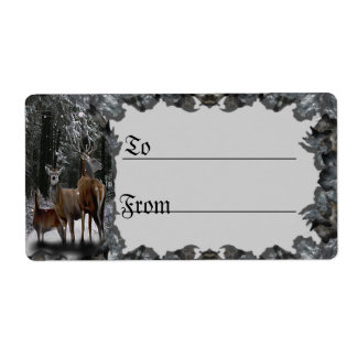 Winter Deer Family Gift Tag Shipping Labels