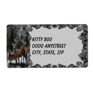 Winter Deer Family Large Shipping Label