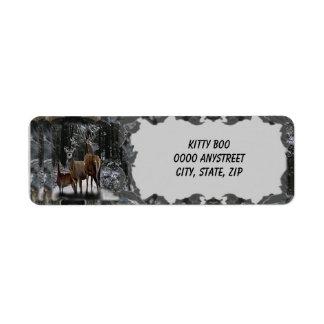 Winter Deer Family Return Address Label