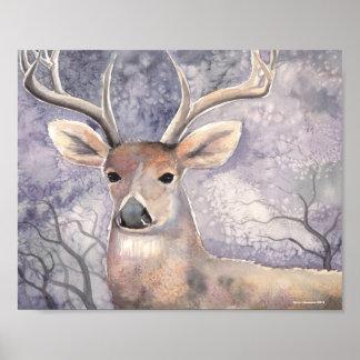 Winter Deer Wildlife Watercolor Art Poster