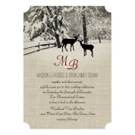 Winter Deer with Monogram 5x7 Paper Invitation Card