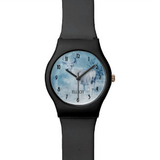 Winter Deer with Pine Trees Personalized Wristwatch