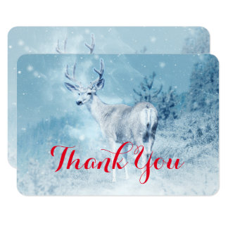 Winter Deer with Pine Trees Thank You Card